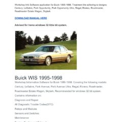 Buick WIS 1995-1998 Workshop Service Repair Manual