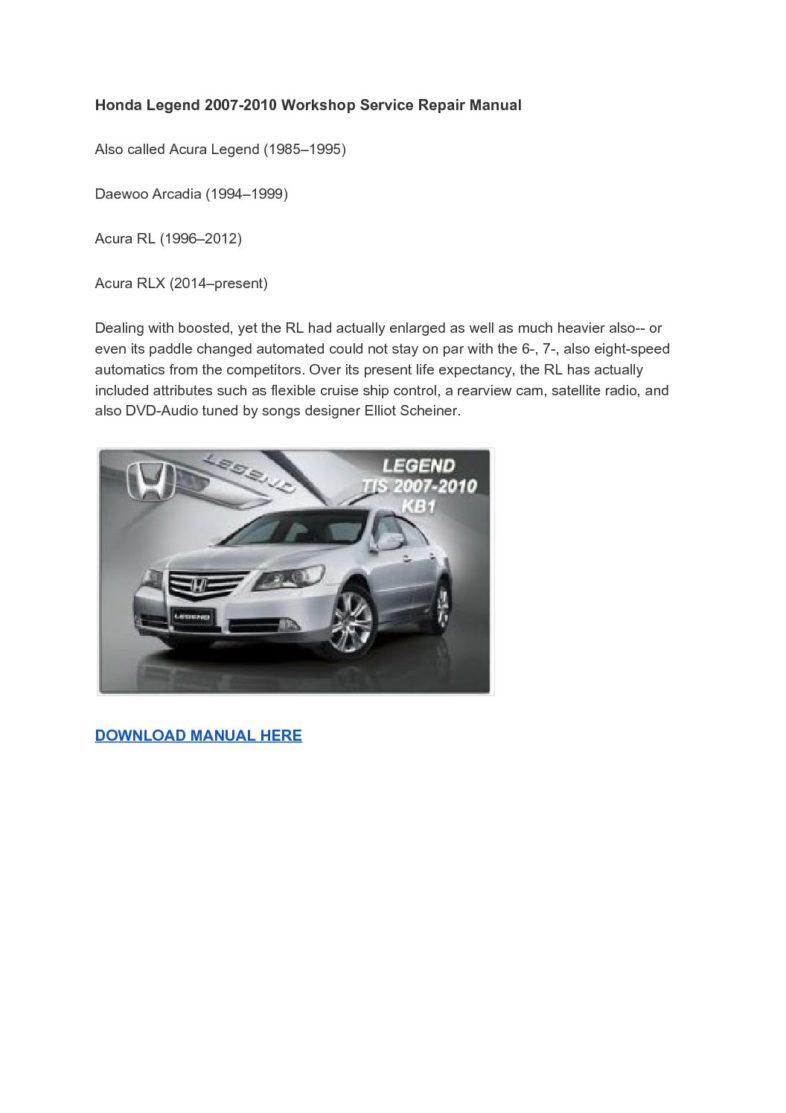 Honda Legend 2007-2010 Workshop Service Repair Manual