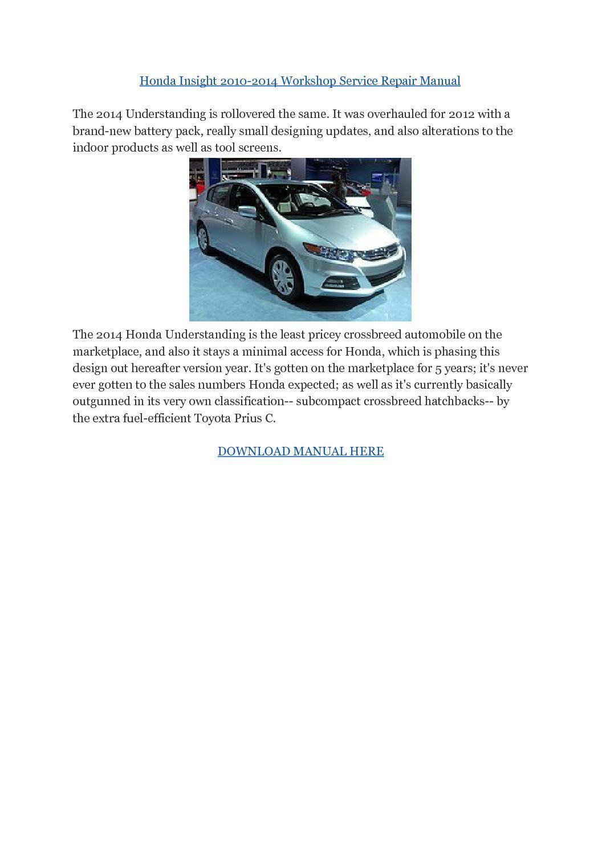 Honda Insight 2010-2014 Workshop Service Repair Manual