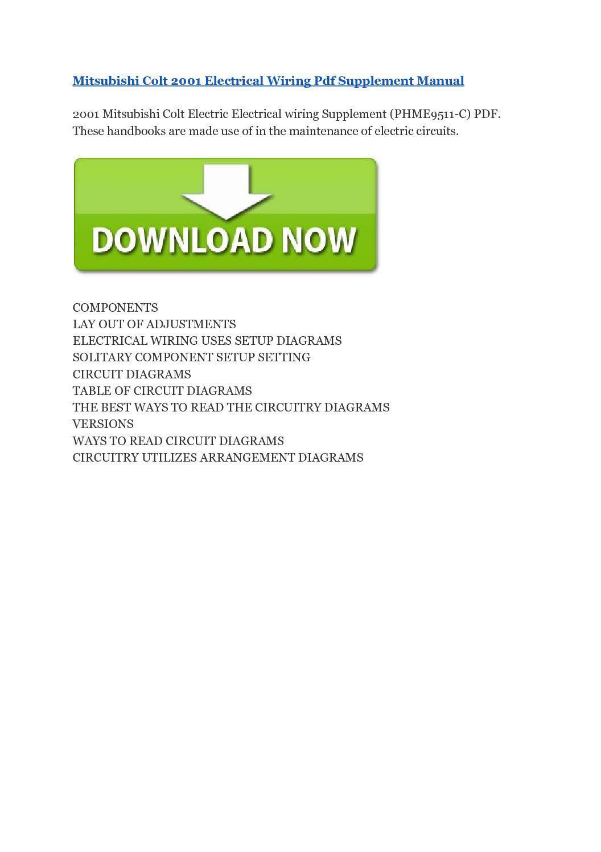 Mitsubishi Colt 2001 Electrical Wiring Pdf Supplement Manual